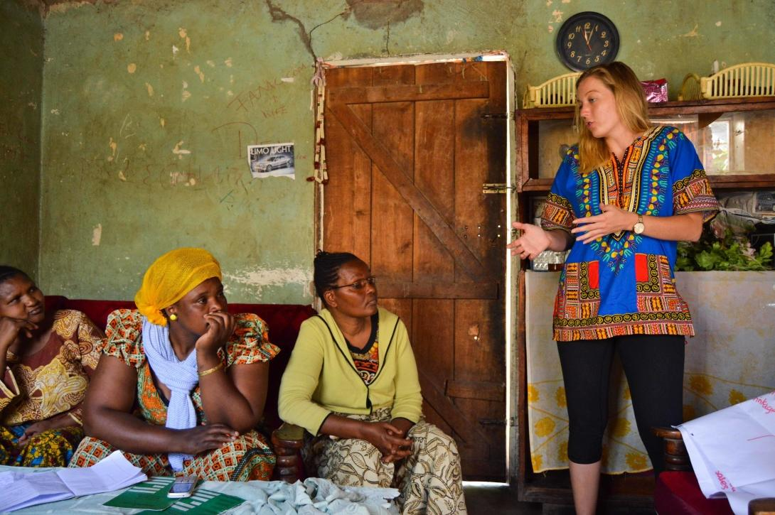 A Canadian micro-finance volunteer gives a lesson to local women in Arusha, Tanzania.